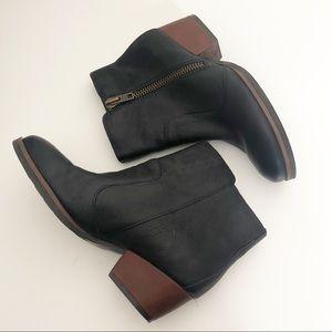 Korks by Kork-Ease Black Leather Bootie Block Heel
